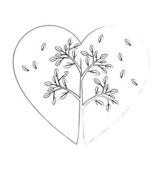 Heart with leaves icon vector