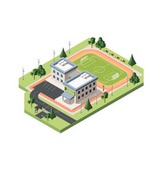 High school soccer field isometric vector