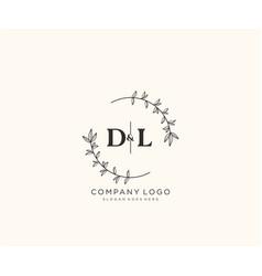 Initial dl letters beautiful floral feminine vector