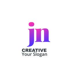 Initial letter jn lowercase design logo template vector