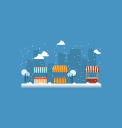 landscape of street shop with snow vector image