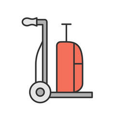 luggage cart color icon vector image
