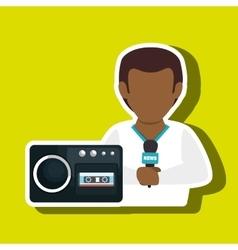 Man voice recorder news vector