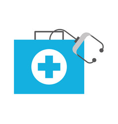 medical kit first aid with stethoscope equipment vector image