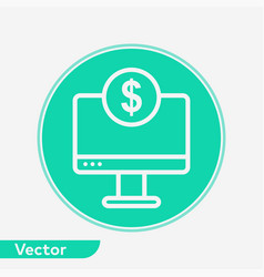 money on monitor icon sign symbol vector image