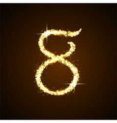 Number eight of gold glittering stars vector image