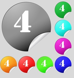 number four icon sign Set of eight multi colored vector image