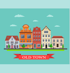 Old town village main street vector