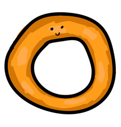 Onion ring with eyes on white background vector