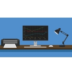 online trading concept computer pc manage graph vector image