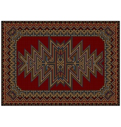 Oriental carpet with original pattern on a red bac vector