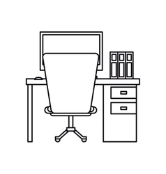 Pictogram worplace desktop computer books chair vector