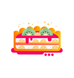 Piece of layered delicious cake with fruit and vector