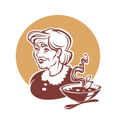 Portrait of lovely grandmother and home made soup vector