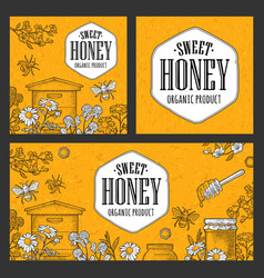 Posters honey on craft texture paper vintage vector