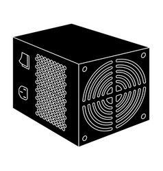 power supply unit icon in black style isolated on vector image