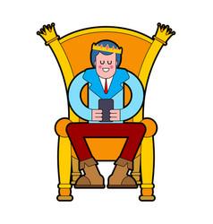 prince on throne young king on royal chair vector image