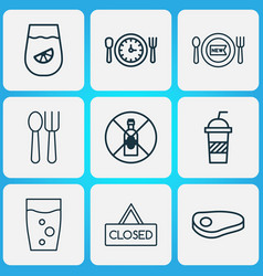 restaurant icons set with spoon with fork glass vector image