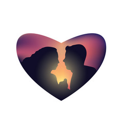 romantic couple sunset isolated heart vector image vector image