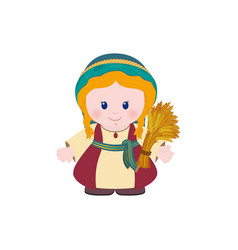 Ruth with sheaf of wheat on white background vector