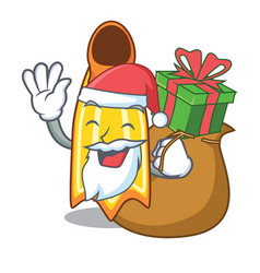 Santa with gift swim fin mascot cartoon vector