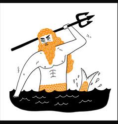 Sea god poseidon neptune suitable for icons lgods vector