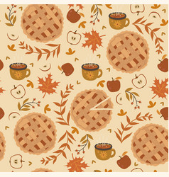 Seamless pattern with apple pie apples and mugs vector