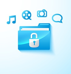 secure multimedia folder vector image