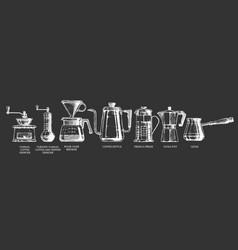 Set coffee preparation vector