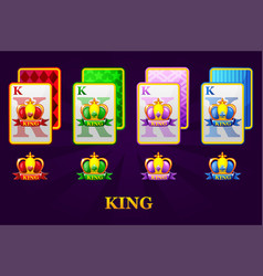 Set four kings playing cards suits for poker vector