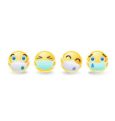 set four smileys or emoticons in masks vector image