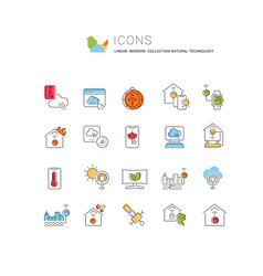Set line icons natural technology vector