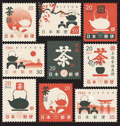 Set old postage stamps with japanese tea vector