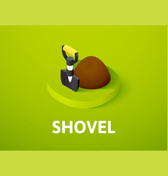 shovel isometric icon isolated on color vector image