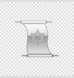 Silver torah scroll isolated object vector