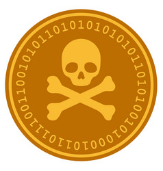 Skull and crossbones digital coin vector