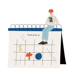 small man sitting on a big calendar planning and vector image