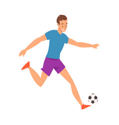 soccer player in sports uniform running with ball vector image