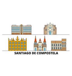 Spain santiago de compostela flat landmarks vector