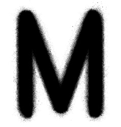 Sprayed m font graffiti in black over white vector