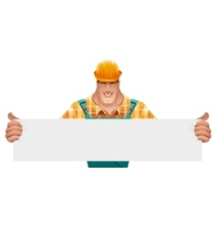 Strong male worker holding blank banner Man in vector image