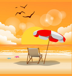 summer beach umbrella beach chair sunset backgroun vector image