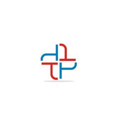 t circle cross logo vector image