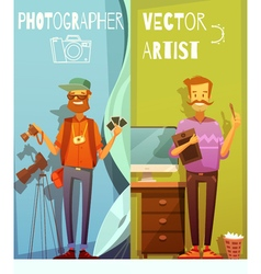 Two Banners With Funny Photographer And Artist vector