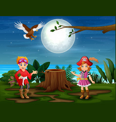 Two woman pirates in jungle vector