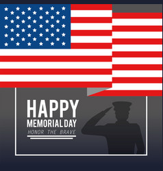 usa flag with military man to memorial day vector image