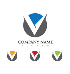 V letter logo business template icon vector