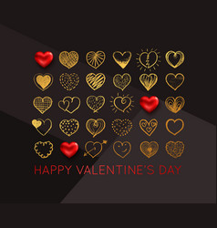 valentines day background with gold hand drawn vector image