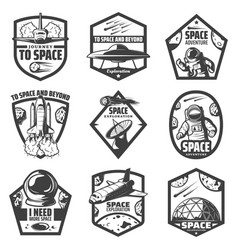 Vintage monochrome space labels set vector