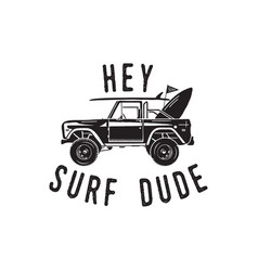 Vintage surf logo print design for t-shirt and vector